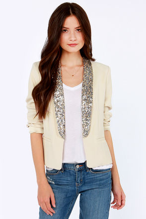 Dakota Belle Blazer - Light Beige Blazer - Sequin Blazer - Women's ...
