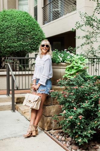 blouse tumblr white blouse top white top denim denim shorts sandals sandal heels high heel sandals bag sunglasses shoes