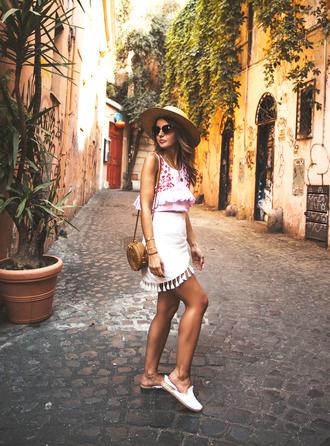skirt shoes sleeveless top hat sun hat tumblr mini skirt wrap skirt white skirt loafers top sleeveless bag