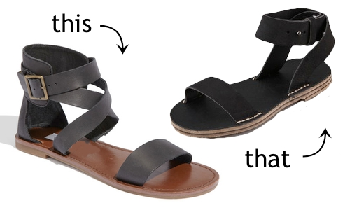This or That: Flat Black Ankle strap sandals