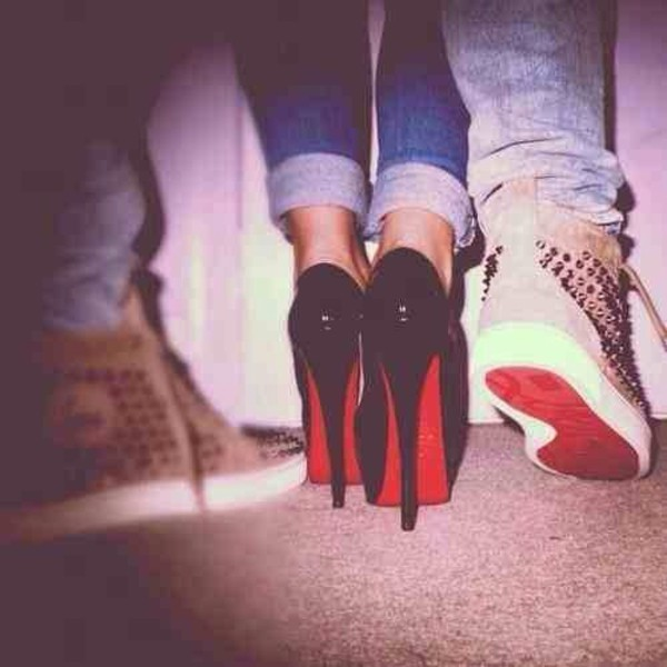 shoes heels black heels red bottoms black red bottoms
