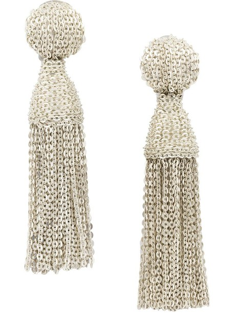 oscar de la renta tassel women earrings grey metallic jewels