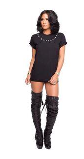 shoes,thigh high boots,unreal,streetstyle,cassie ventura,buckles,black,celebrity,t-shirt dress,dress
