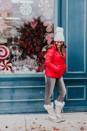 mint arrow,blogger,coat,shoes,hat,jeans,winter outfits,beanie,winter boots,winter jacket