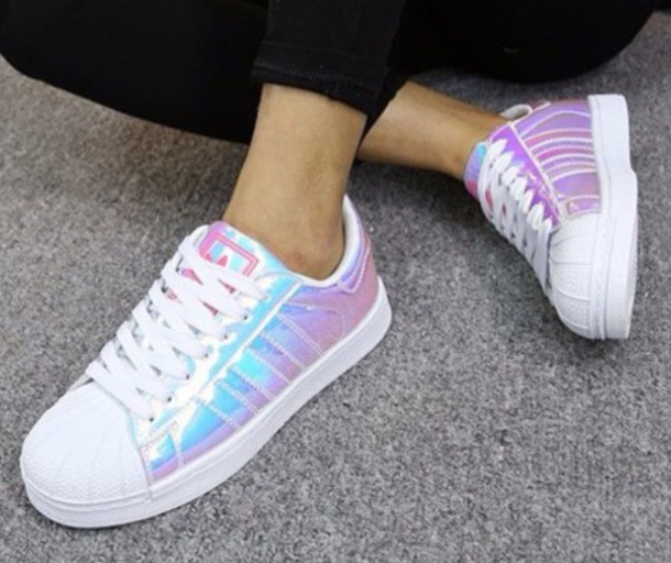 shoes, sneakers, adidas, adidas shoes, hologram sneakers, iridescent, opal,  white, white sneakers, rainbow shoes - Wheretoget