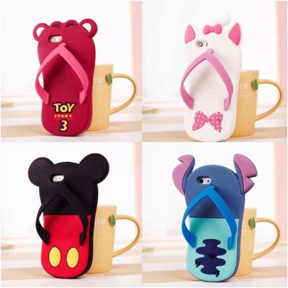 disney phone case flip-flops cute case silicone case