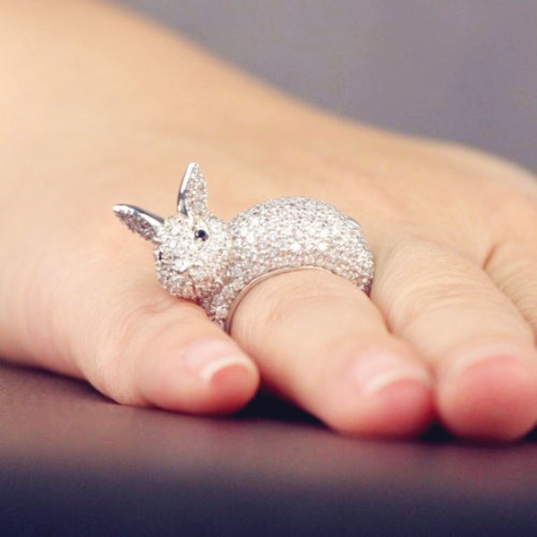 jewels silver cute bunny ring