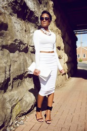 the daileigh,t-shirt,skirt,shoes,sunglasses,bag,jewels,dress,shirt,white crop tops,white skirt,white fitted skirt