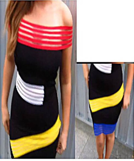 dress cut-out black neon short tanya burr bodycon off the shoulder colorful youtuber movie premiere little black dress sheer