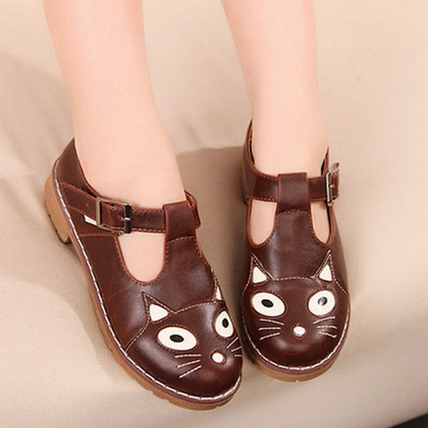 Round Toe Cat Face Block Low heels Chunky Sole T-Strap Womens Flat Oxford Shoes | eBay