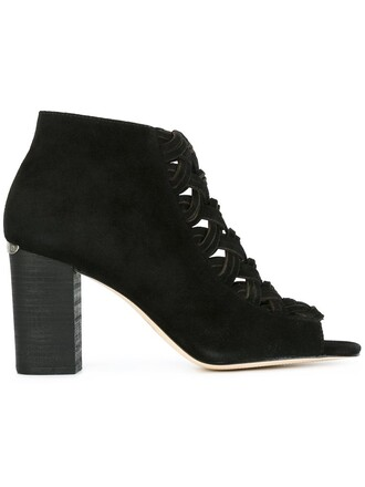 women booties leather suede black shoes