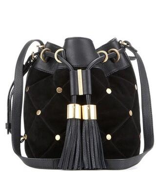 bag bucket bag leather suede black