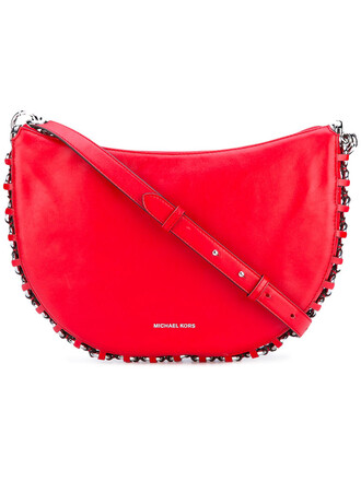 metal women bag crossbody bag leather red