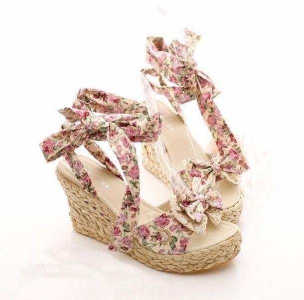 shoes wedges cute cute high heels floral girly sandals kawaii bow bow high  heels strappy sandals b11b0ac4335a