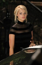dress,margot robbie,black dress,mesh,mesh dress,stripes,striped dress,bodycon dress,bodycon,little black dress,high neck dress,party dress,classy dress,elegant dress,cocktail dress,date outfit,girly dress,cute dress,graduation dress,prom dress,black prom dress,celebrity,celebrity style,celebstyle for less