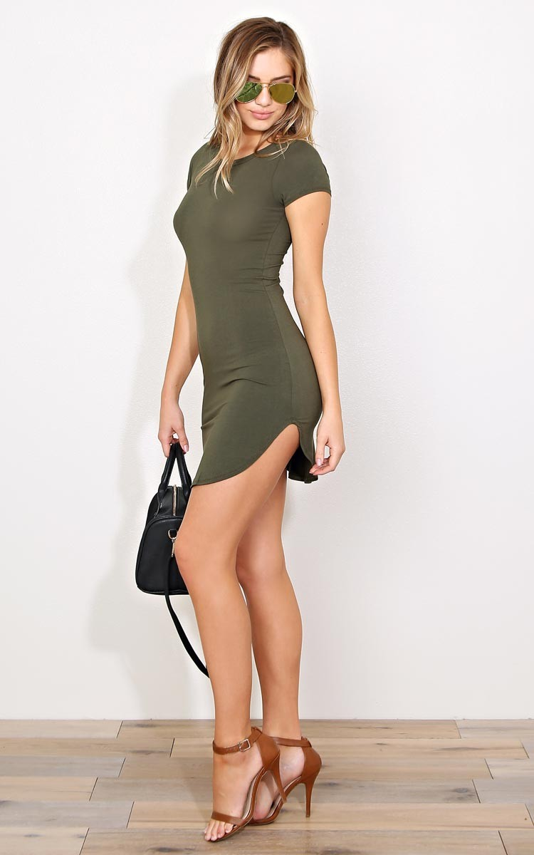Heart And Hips Olive Scooped Knit T Shirt Dress