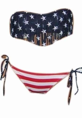 Tassel fringe us american flag swimwear paded swimsuit bathing beach suit bikini