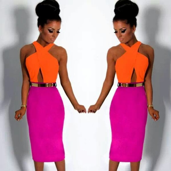 dress orange dress summer dress pink dress cross over top midi dress belt