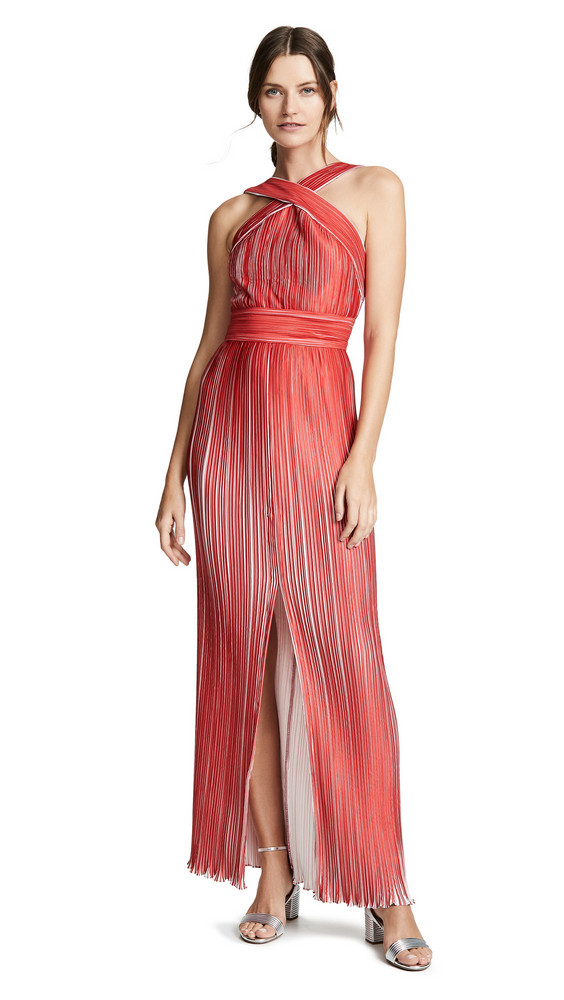 Yigal Azrouel Origami Pleated Halter Neck Dress in red