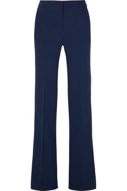 pants wide-leg pants navy wool