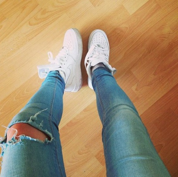 jeans jeans, cropped, ripped, light wash, denim nike air force 1