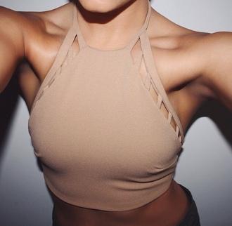 shirt cut out shirt beige cut out halter neck