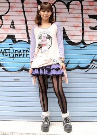 shirt demon pastel pastel goth kawaii grunge pin up baseball tee