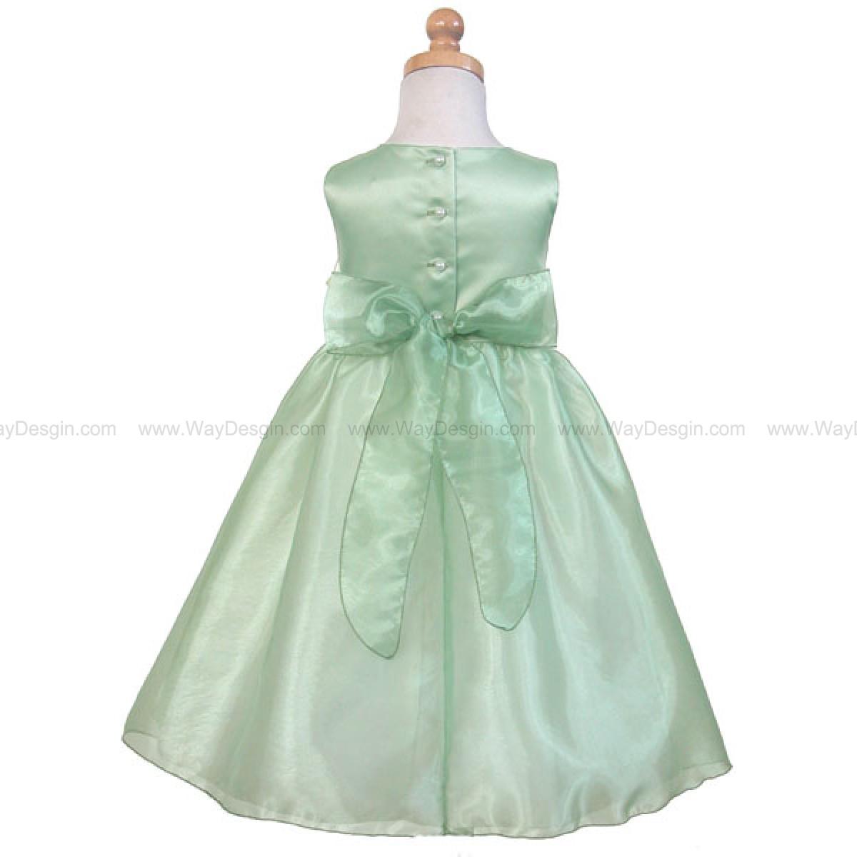 Sage Satin Party Dress