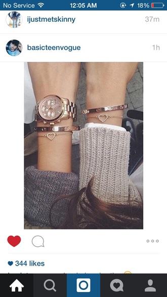 jewels bracelets gold heart watch cute