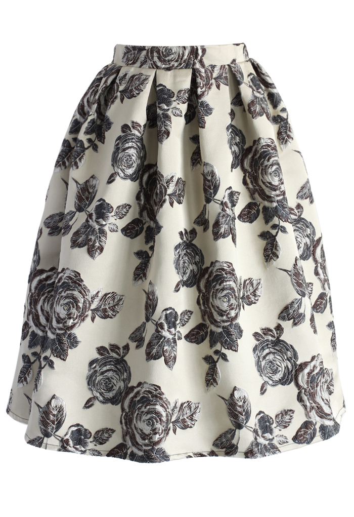 Glowing Rose Intarsia Midi Skirt - Retro, Indie and Unique Fashion