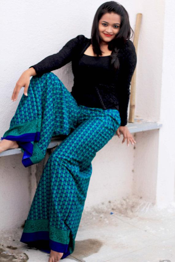 Turquoise PALAZZO PANTS - Cotton WIDE Leg Pant - Women Harem Pants -Yoga Boho Pants -Yoga Clothing -Baggy Pants, Comfortable wear /Trousers