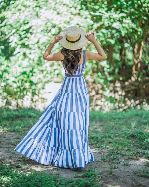 b32b3469efad dress hat tumblr maxi dress long dress blue dress stripes striped dress sun  hat