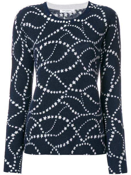 Equipment - stars print knitted top - women - Cashmere - L, Blue, Cashmere