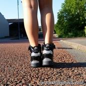 wedges,wedge sneakers,style,black,nike air,nike revolution,legs,swarovski,custom nike,swag,girly,girl,hidden wedge,leather wedges,sparkle,bling shoes,bling,shoes,sneakers,trainers