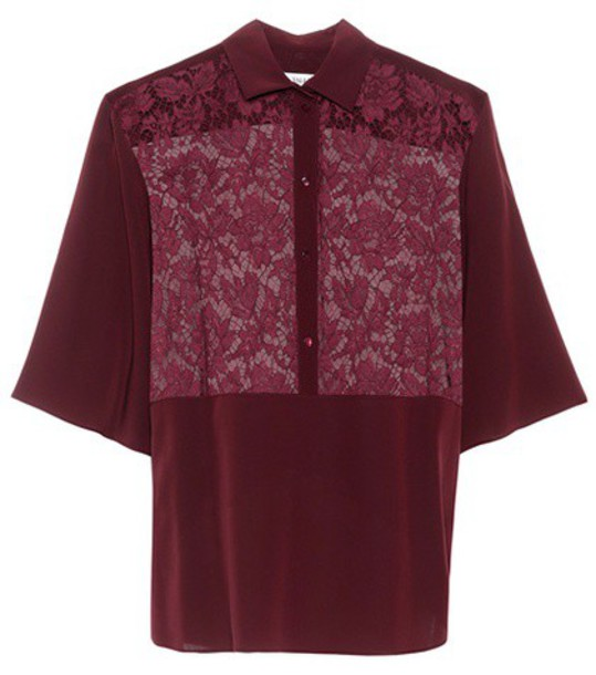 Valentino blouse lace silk red top