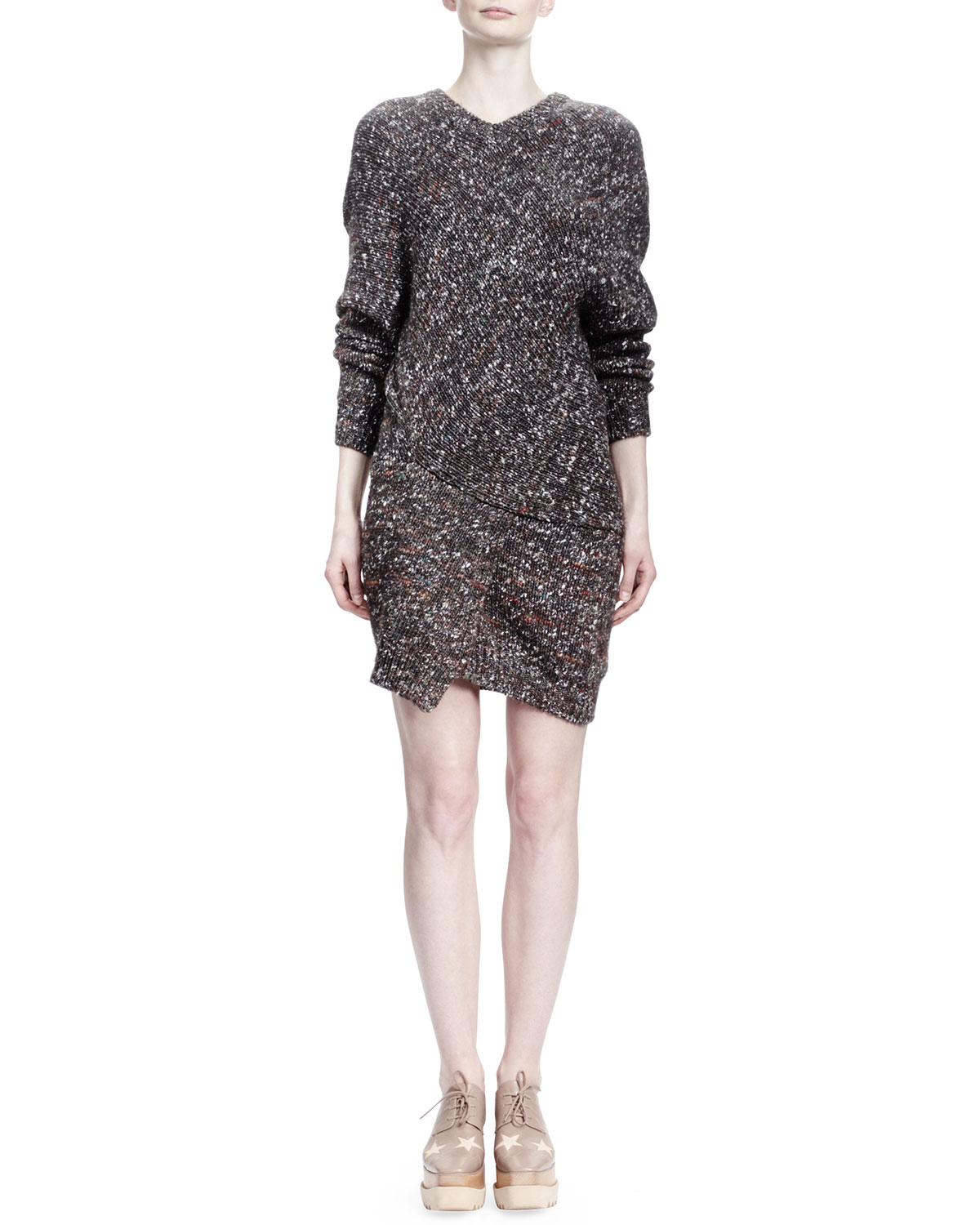 Stella McCartney Long-Sleeve V-Neck Chunky Sweaterdress & Crossbody Bag
