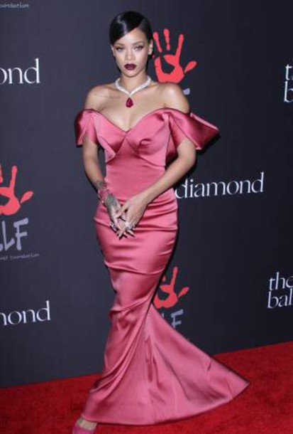 Rihanna Stuns In A Rose Satin Gown at Her First Diamond Ball