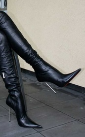 shoes,black leather high heel boots,high heels,boots,leather boots,black high heels,metal heel,leather high heel boots