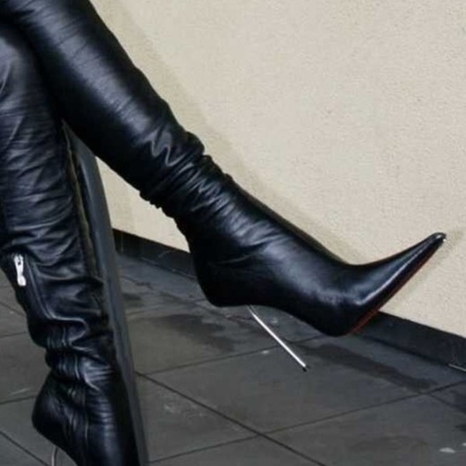 Black ankle wedge boots