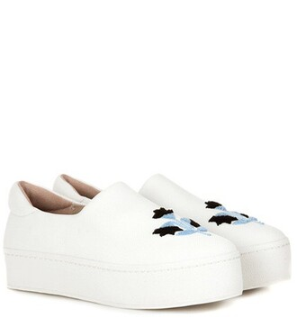 embroidered shoes white