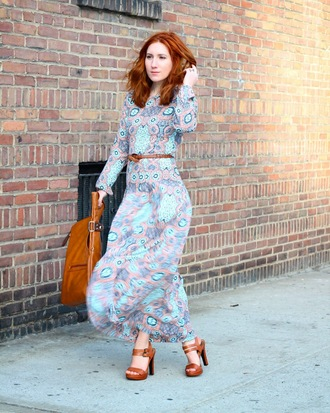 tf diaries blogger brown leather bag paisley long sleeve dress leather sandals maxi dress