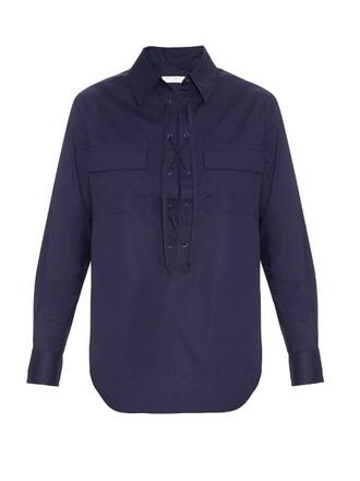 shirt lace cotton navy top