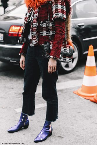 shoes blue boots fashion week 2017 tumblr streetstyle jeans black jeans cropped jeans boots ankle boots printed boots jacket printed jacket printed bag chain bag tartan plaid