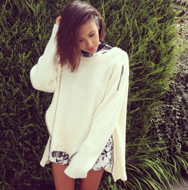sweater white white on white spring top shirt jumper knit zip up casual knitwear romper