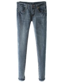 Blue pockets bleached skinny denim pant