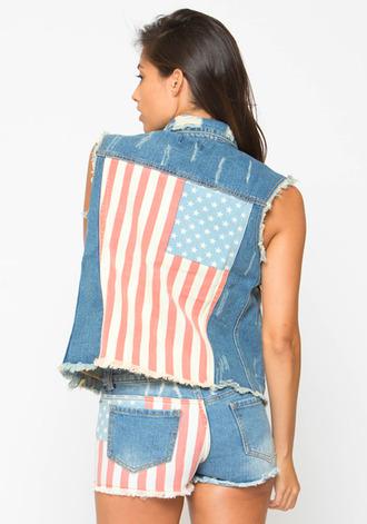 jacket vest denim vest denim jacket american flag