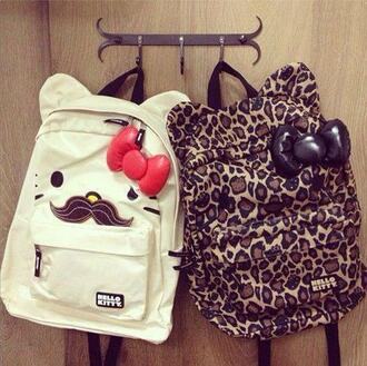 bag hello kitty leopard print bows moustache backpack mustache ribbon