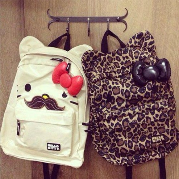bag hello kitty moustache backpack leopard print ribbon leopard print bows leopard print mustache