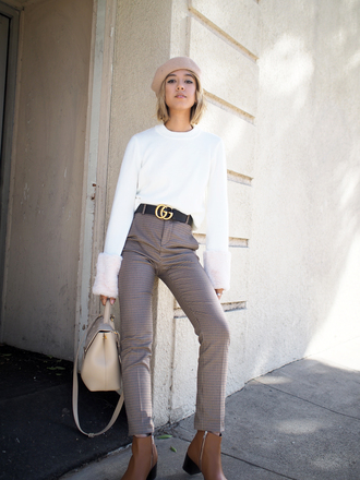 sweater tumblr white sweater knit knitwear knitted sweater pants grey pants belt beret bag nude bag boots ankle boots