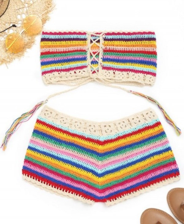 shorts girly colorful crochet crochet top two-piece matching set bandeau